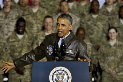 President Barack Obama visits troops on Bagram Airfield, Afghanistan, May 26, 2014. Obama thanked the soldiers, sailors, airmen and Marines for their service. After his speech, he shook hands with each and every member present. U.S. Air Force (Photo by Staff Sgt. Evelyn Chavez)