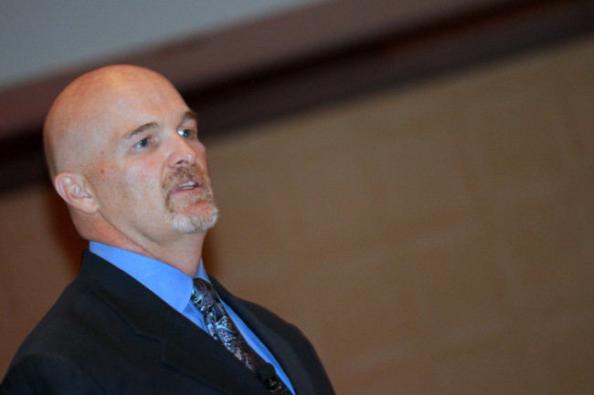 Atlanta Falcons Head Coach Dan Quinn speaks to the Buckhead Business Association (BBA) on June 23, 2015. (Photo by Todd DeFeo)