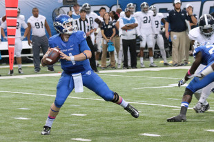 Nick Arbuckle throws against Georgia Southern on Oct. 25. (Photo by Todd DeFeo)