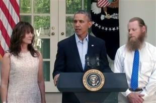 "President Barack Obama announced the release of Army Sgt. Bowe Bergdahl in an address from the Rose Garden at the White House, May 31, 2014, accompanied by the soldier's parents. Bergdahl spent five years in captivity in Afghanistan. ""The United States does not ever leave our men and women in uniform behind,"" Obama said. ""That's who we are as Americans."""